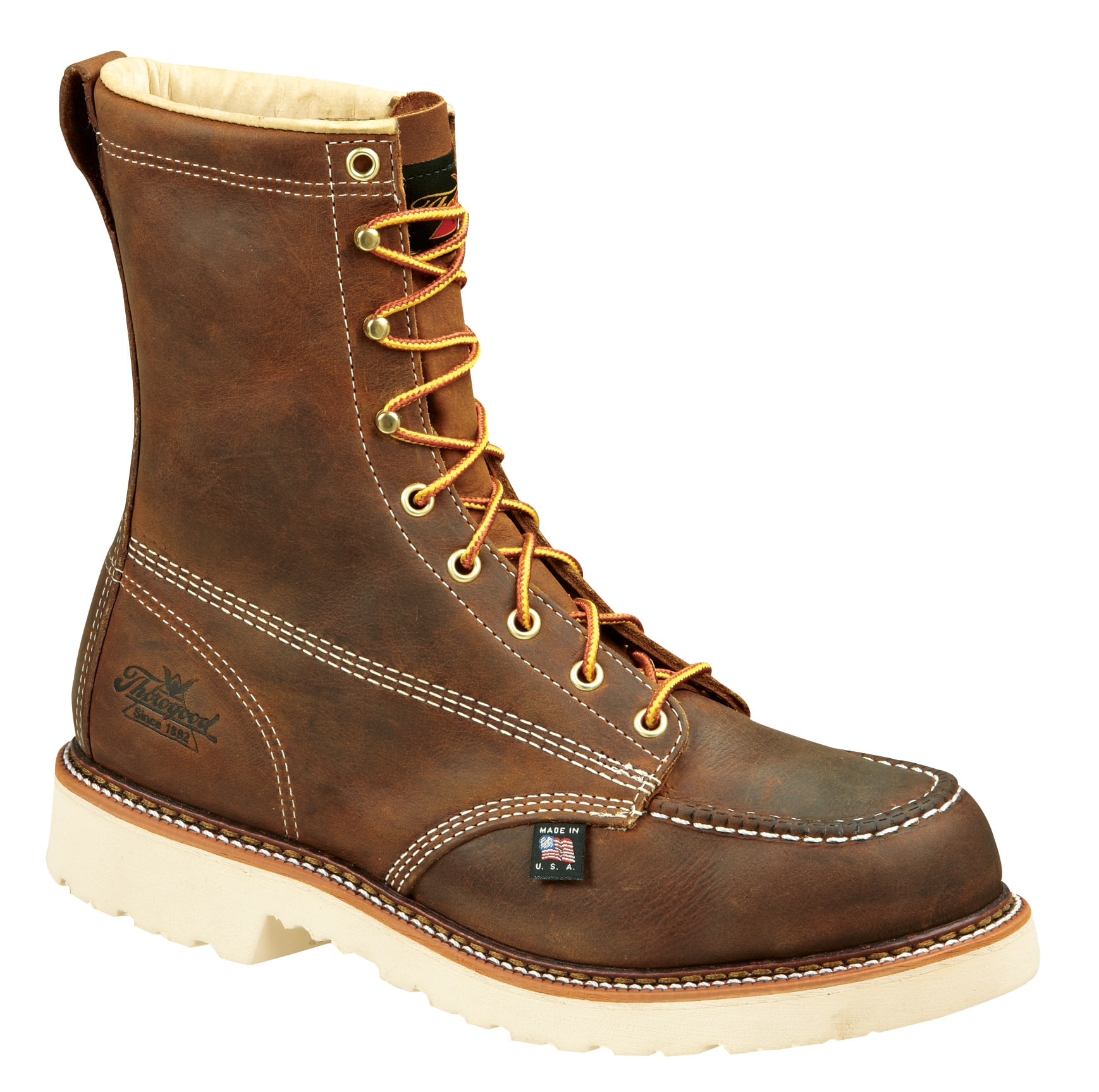 "Thorogood Men's American Heritage 8"" Moc Toe - Steel Toe thorogood,thorogood boots,thorogood american heritage,thorogood made in the usa,boots made in usa,thorogood moc toe work boots,thorogood mens boots,thorogood mens,thorogood 8"" work boots,thorogood oil-resistant boots,thorogood slip-resistant boots,thorogood steel toe,thorogood steel toe boots,thorogood steel toe work boots,thorogood safety toe steel toe,thorogood safety toe boots,thorogood safety toe work boots,men's work boots,men's steel toe slip resistant boots,men's steel toe oil resistant boots,usa made boots,cheap thorogood boots,cheap work boots,cheap thorogood work boots,brown lace up work boots,brown steel toe boots,durable work boots,804-4378,804-4378 boots,804-4378 work boots,804-4378 thorogood,ppe boots"