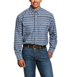 Ariat FR Navy Plaid Featherlight Work Shirt