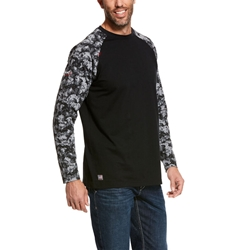 Ariat Flame Resistant Black Digi Camo Baseball T-Shirt