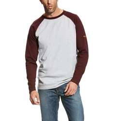 Ariat Flame Resistant Heather Grey/Malbec Baseball T-Shirt