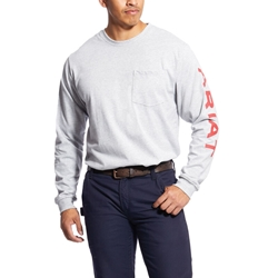 Ariat Flame Resistant Heather Grey Pocketed Logo T-Shirt
