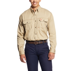 Ariat Flame Resistant Kahki Solid Vent Work Shirt