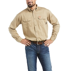 Ariat Flame Resistant Khaki Solid Work Shirt