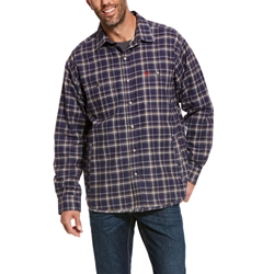 Ariat Flame Resistant Monument Shirt Jacket | Navy Plaid