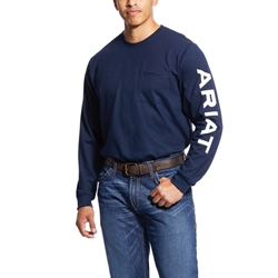 Ariat Flame Resistant Navy Pocketed Logo T-Shirt