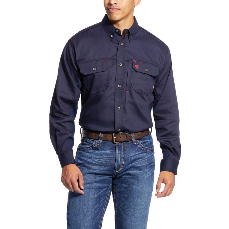 1855897cfa Ariat Flame Resistant Navy Solid Vent Work Shirt - 10019062 ...