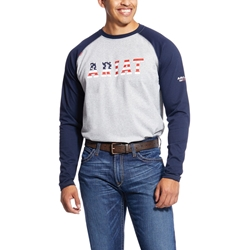 Ariat Flame Resistant Navy USA Baseball T-Shirt