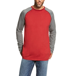 Ariat Flame Resistant Red/Dark Grey Baseball T-Shirt