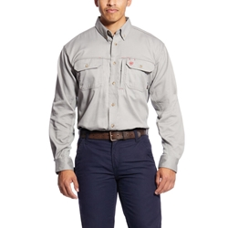 Ariat Flame Resistant Silver Fox Solid Vent Work Shirt