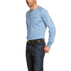Ariat Flame Resistant Steel Blue Air Henley Top