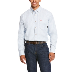 Ariat Flame Resistant White Multi Twill Durastretch Classic Work Shirt
