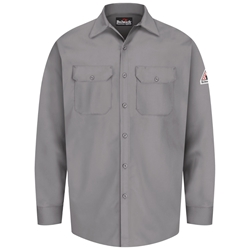 Bulwark Flame Resistant Button-Front Work Shirt | Silver Gray