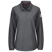 Bulwark Flame Resistant IQ Series Comfort Knit Women's Polo W/4 Button Placket | Charcoal - QT15CH