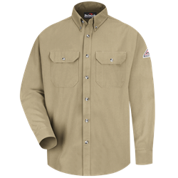 Bulwark Flame Resistant Khaki Cool Touch 2 Button Front Deluxe Shirt