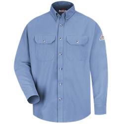 Bulwark Flame Resistant Light Blue Cool Touch 2 Button Front Deluxe Shirt