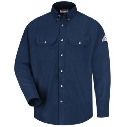Bulwark Flame Resistant Navy Cool Touch 2 Button Front Deluxe Shirt