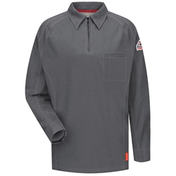 Bulwark Flame Resistant iQ Series Long Sleeve Polo | Charcoal