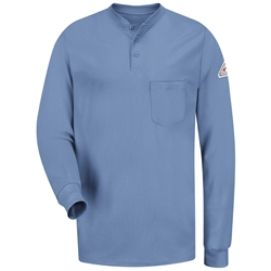 Bulwark Long Sleeve Flame Resistant Tagless Henley Shirt | Light Blue