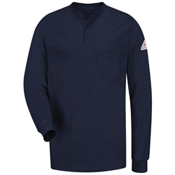 Bulwark Long Sleeve Flame Resistant Tagless Henley Shirt | Navy Blue