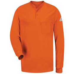 Bulwark Long Sleeve Flame Resistant Tagless Henley Shirt | Orange