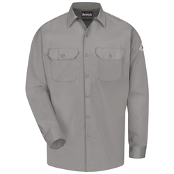 Bulwark Mens Flame Resistant Gray Button-Front Work Shirt