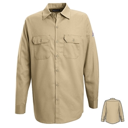Bulwark Mens Flame Resistant Khaki Button-Front Work Shirt