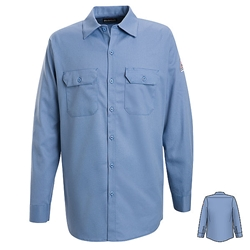 Bulwark Mens Flame Resistant Light Blue Button-Front Work Shirt