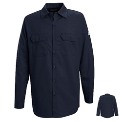 Bulwark Mens Flame Resistant Navy Button-Front Work Shirt