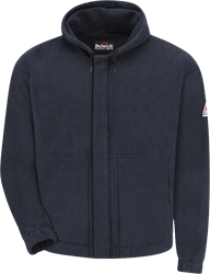 Bulwark Navy Flame Resistant Fleece Zip-Front Hooded Sweatshirt