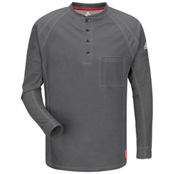 Bulwark Flame Resistant iQ Series Long Sleeve Henley | Charcoal