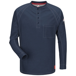 Bulwark Flame Resistant iQ Long Sleeve Henley | Dark Blue