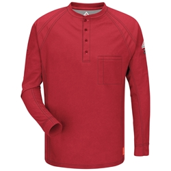 Bulwark iQ Series Flame Resistant Long Sleeve Henley | Red