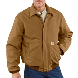 Carhartt Flame Retardant Mens Brown Duck Bomber Jacket
