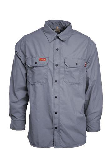52e27f3f66a2 Lapco FR 4.5 oz GlenGuard Gray Work Shirt With Snaps