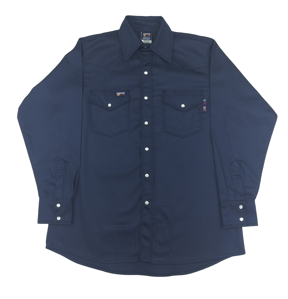Lapco Navy Men S Western Snap Work Shirt Inv7ws