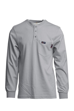 Lapco Flame Resistant 7 oz. Gray Jersey Knit Henley