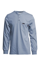 Lapco Flame Resistant 7 oz. Medium Blue Jersey Knit Henley