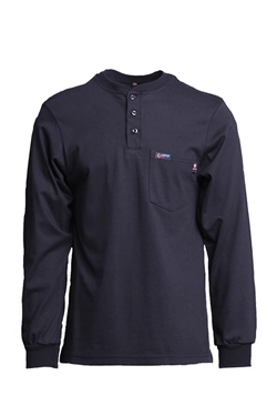 Lapco Flame Resistant 7 oz. Navy Jersey Knit Henley