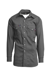 Lapco Flame Resistant Gray Western Shirt w/Snaps