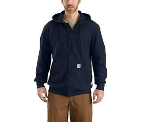 Mens Carhartt 13 oz FR Rain Defender Navy Hooded Zip-Front Sweatshirt