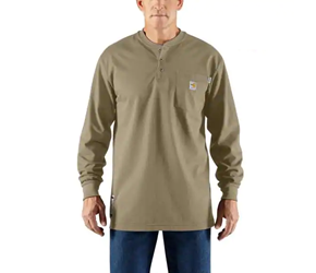 Mens Carhartt FR Force Cotton Long Sleeve Henley | Khaki