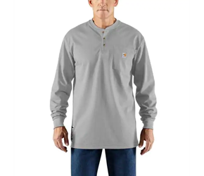 Mens Carhartt FR Force Cotton Long Sleeve Henley | Light Gray