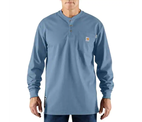 Mens Carhartt FR Force Cotton Long Sleeve Henley | Medium Blue