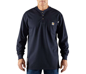Mens Carhartt FR Force Cotton Long Sleeve Henley | Navy