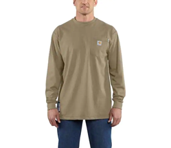 Men's Carhartt FR Force Cotton Long Sleeve T-Shirt | Khaki