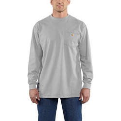 Men's Carhartt FR Force Cotton Long Sleeve T-Shirt | Light Gray