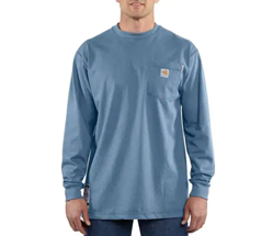 Men's Carhartt FR Force Cotton Long Sleeve T-Shirt | Medium Blue