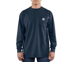 Men's Carhartt FR Force Cotton Long Sleeve T-Shirt | Navy