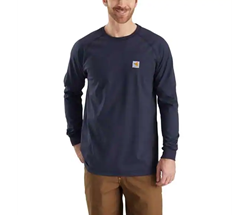Men's Carhartt FR Force Cotton Long Sleeve T-Shirt | No Pocket | Navy
