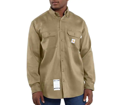 Men's Carhartt FR Light Weight Twill Work Shirt | Khaki